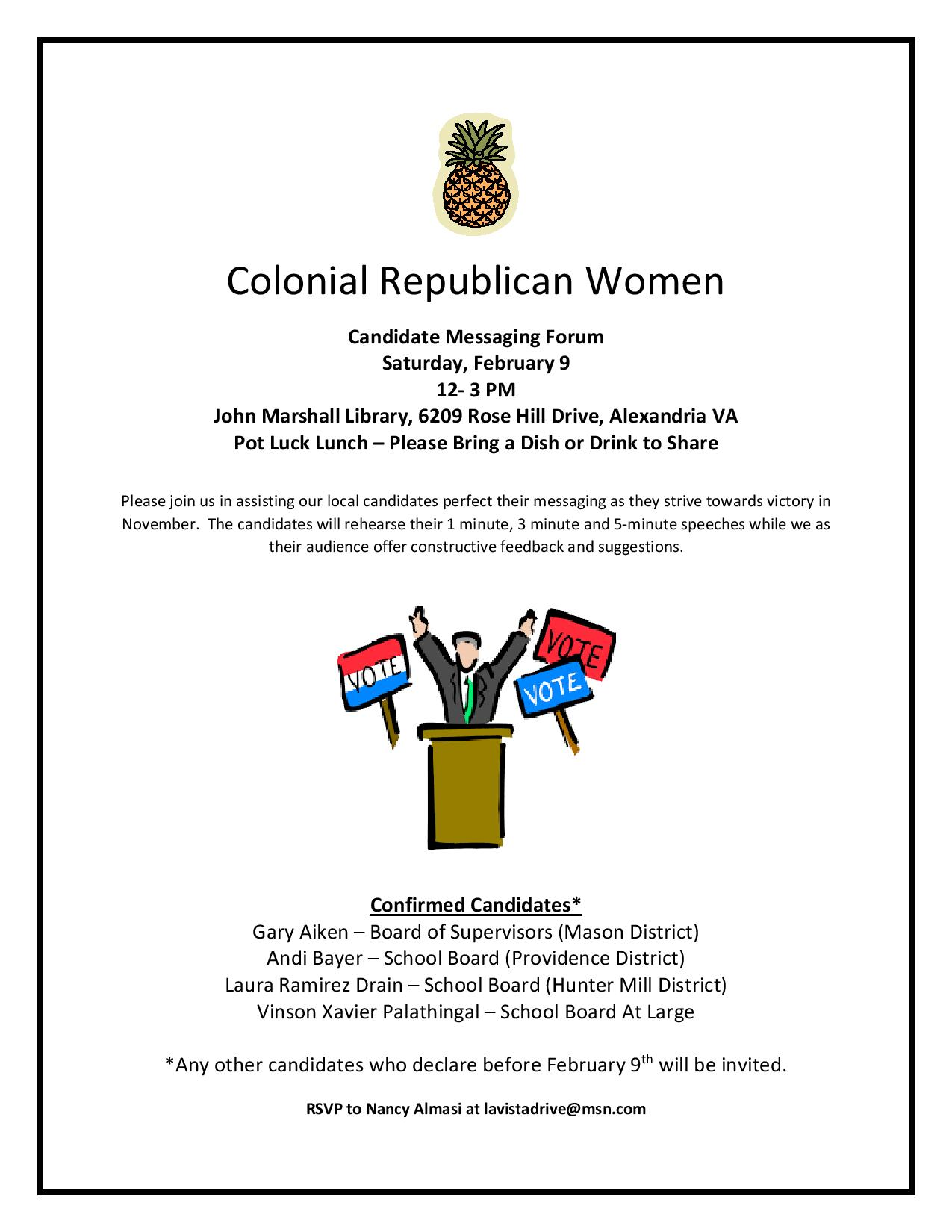 Candidate Messaging Forum – Saturday, Feb  9th – Colonial Republican